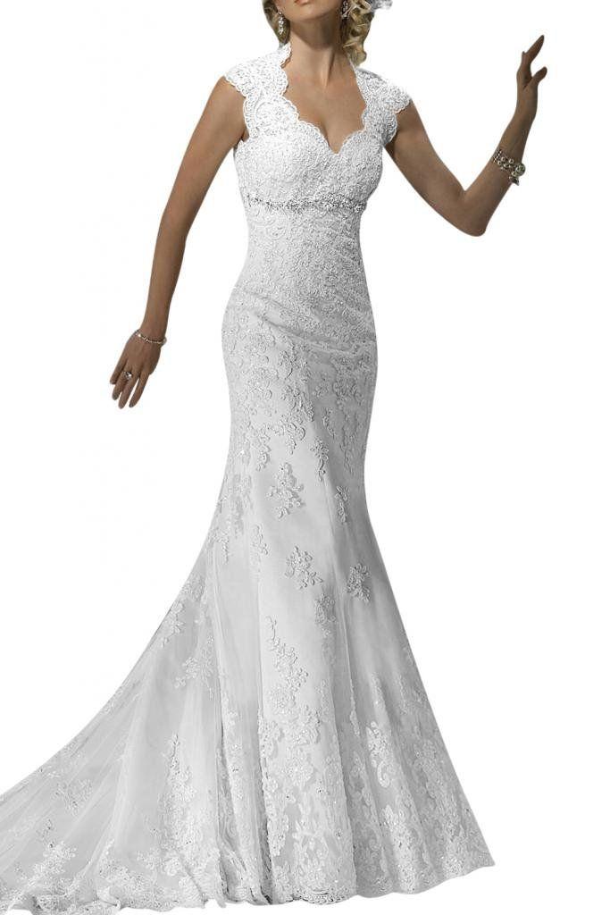Gorgeous Bridal V-neck Decent Lace Long Bridal Gowns Open Back- US ...