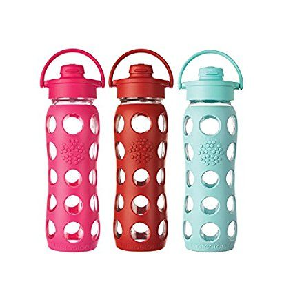 Amazon Com Lifefactory 22 Ounce Bpa Free Glass Water Bottle With Flip Cap And Silicone Sleeve Turquoise Kitche Fancy Water Bottles Glass Water Bottle Bottle