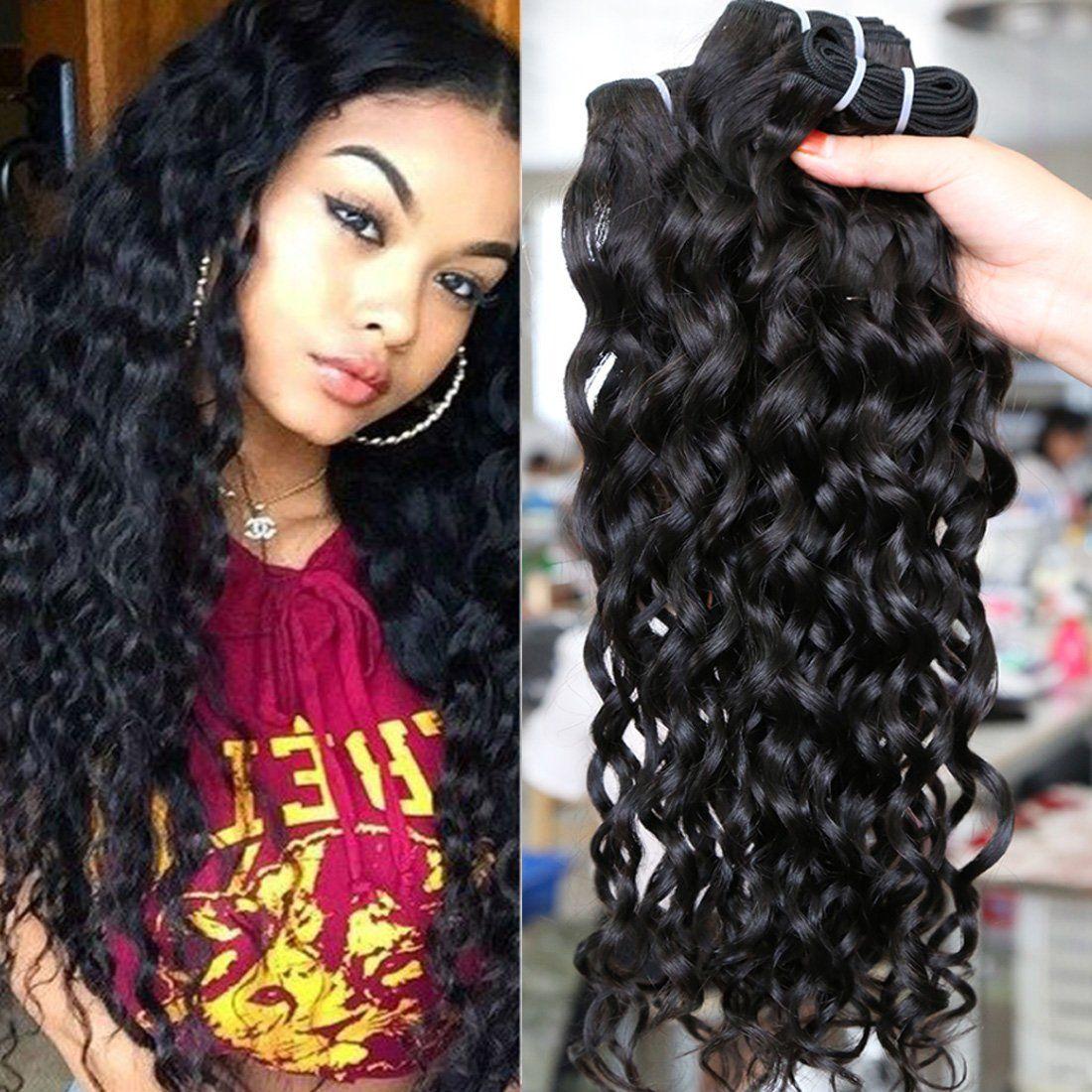 7a Grade Brazilian Virgin Water Wave 3 Bundles Human Remy Hair Weave