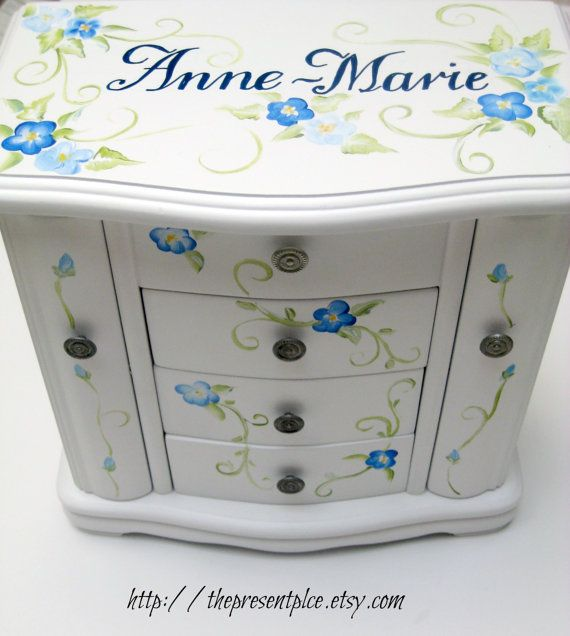135 Large white hanging jewelry box with four drawers handpainted