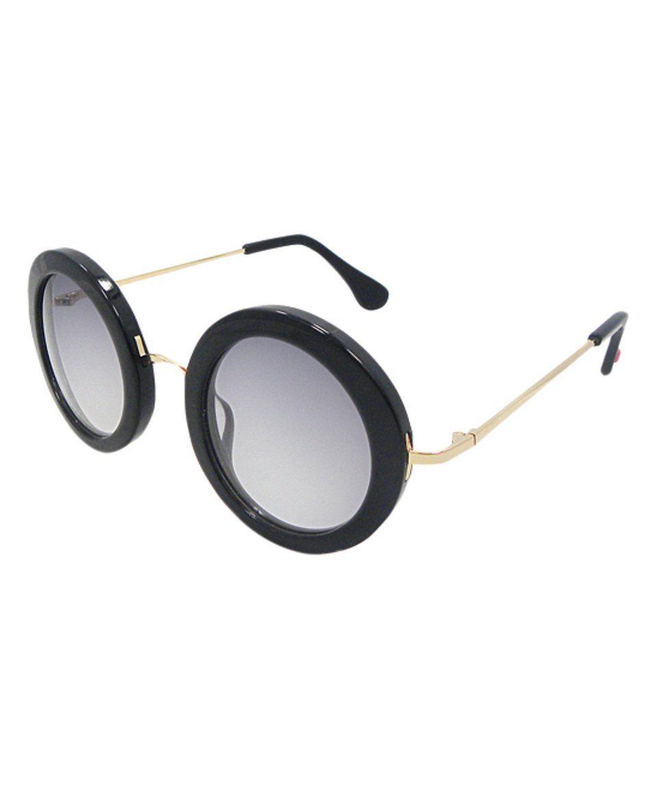 Betsy Johnson Black Wide-Rim Round Sunglasses | Shades | Pinterest