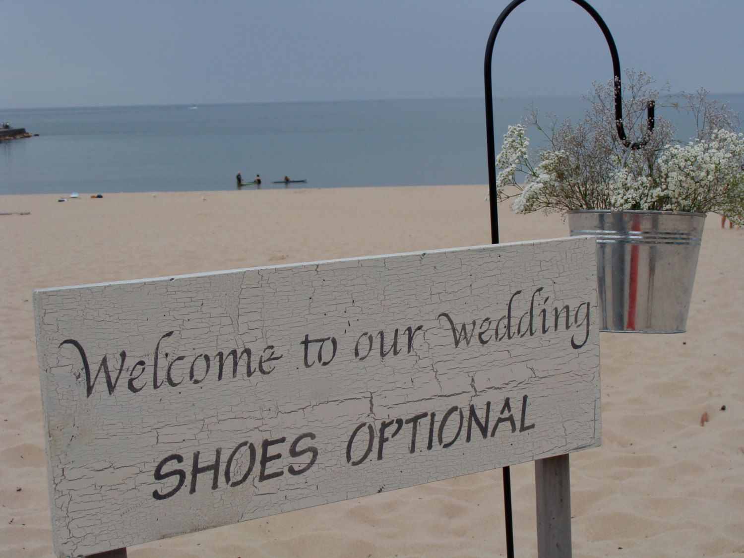 Vintage Beach Wedding Ceremony: Handmade Welcome To Our Wedding Shoes Optional Vintage