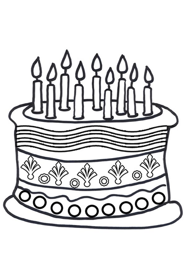 free online birthday cake colouring page kids activity sheets birthday colouring pages