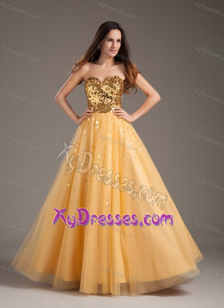 Impressive Orange Sweetheart Floor Length Sequin And Tulle Prom