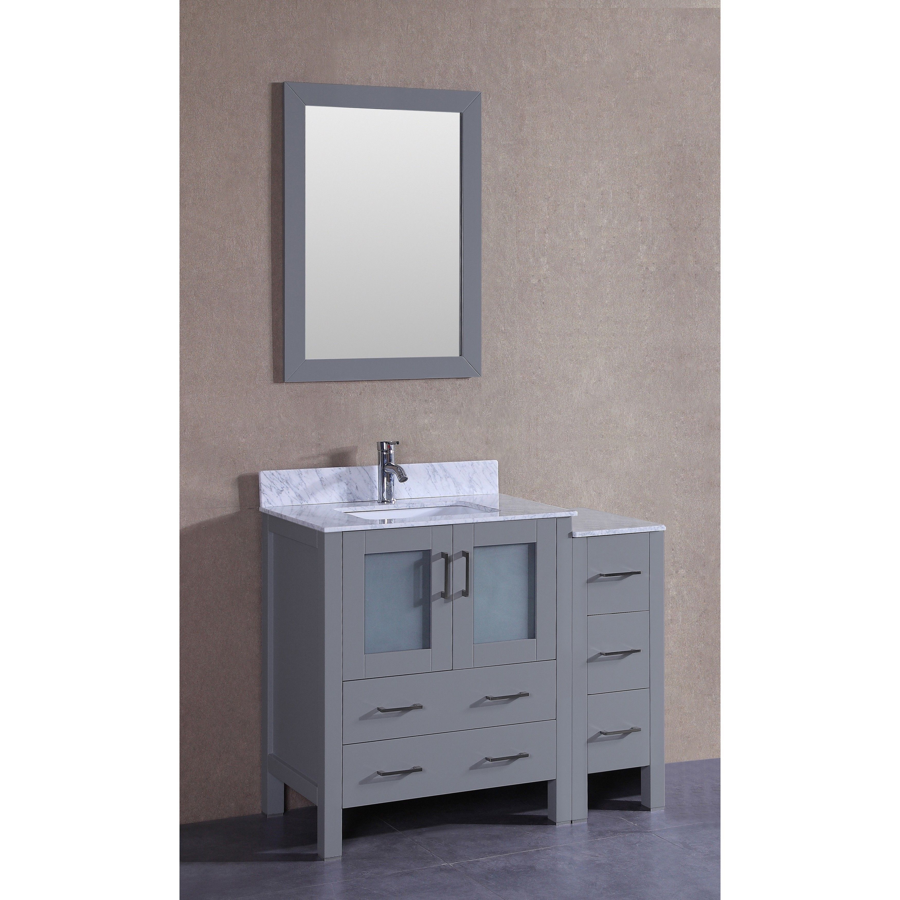 Bosconi 42 inch Single Vanity Cabinet with Bi level A White Marble