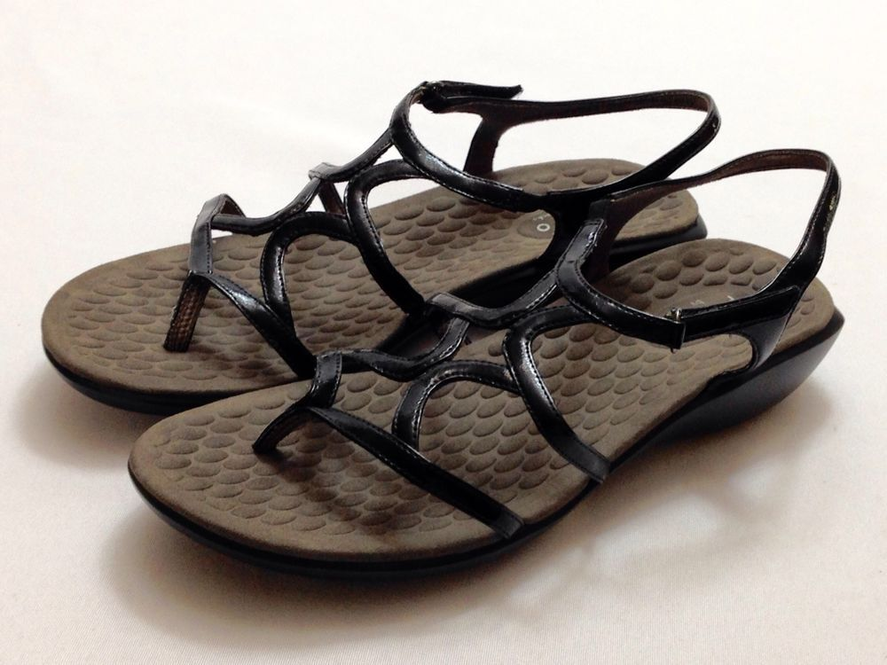 9a4f325941e Privo by Clarks Black Patent Leather Strappy Thong Sandals  38068 Women s  SZ 9  PrivobyClarks  Strappy  OfficeorCasual