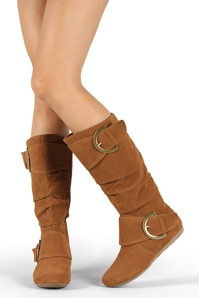 Bank-80 Buckle Slouchy Knee High Flat Boot - My Bella Vi