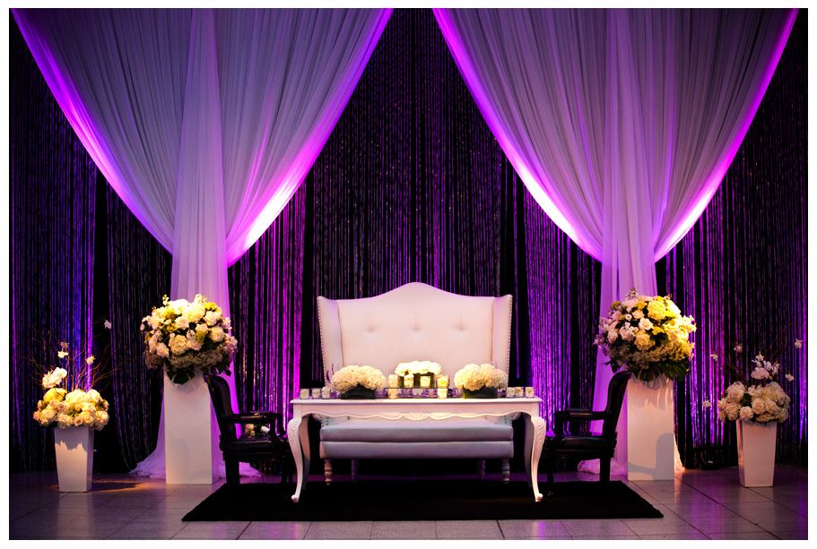 Honor Table With Beautiful Furniture Flowers Draping And Lighting At Montreal Wedding The Windsor Station Reception