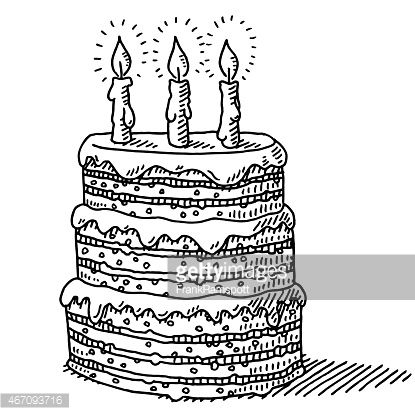 Handdrawn vector drawing of a Big Birthday Cake With Three Candles