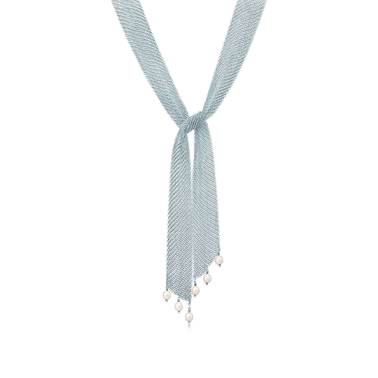 4222bbe33 Elsa Peretti® Mesh tie necklace in sterling silver with freshwater pearls.