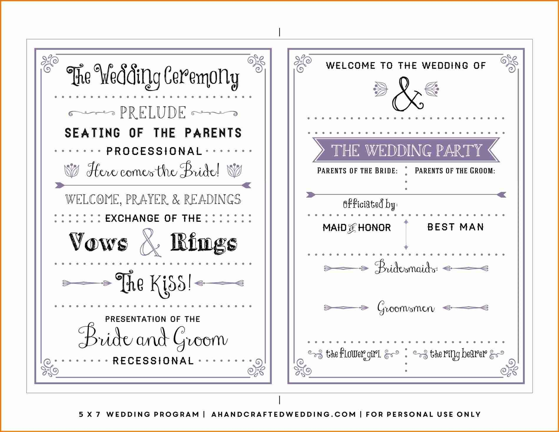 single page wedding program template