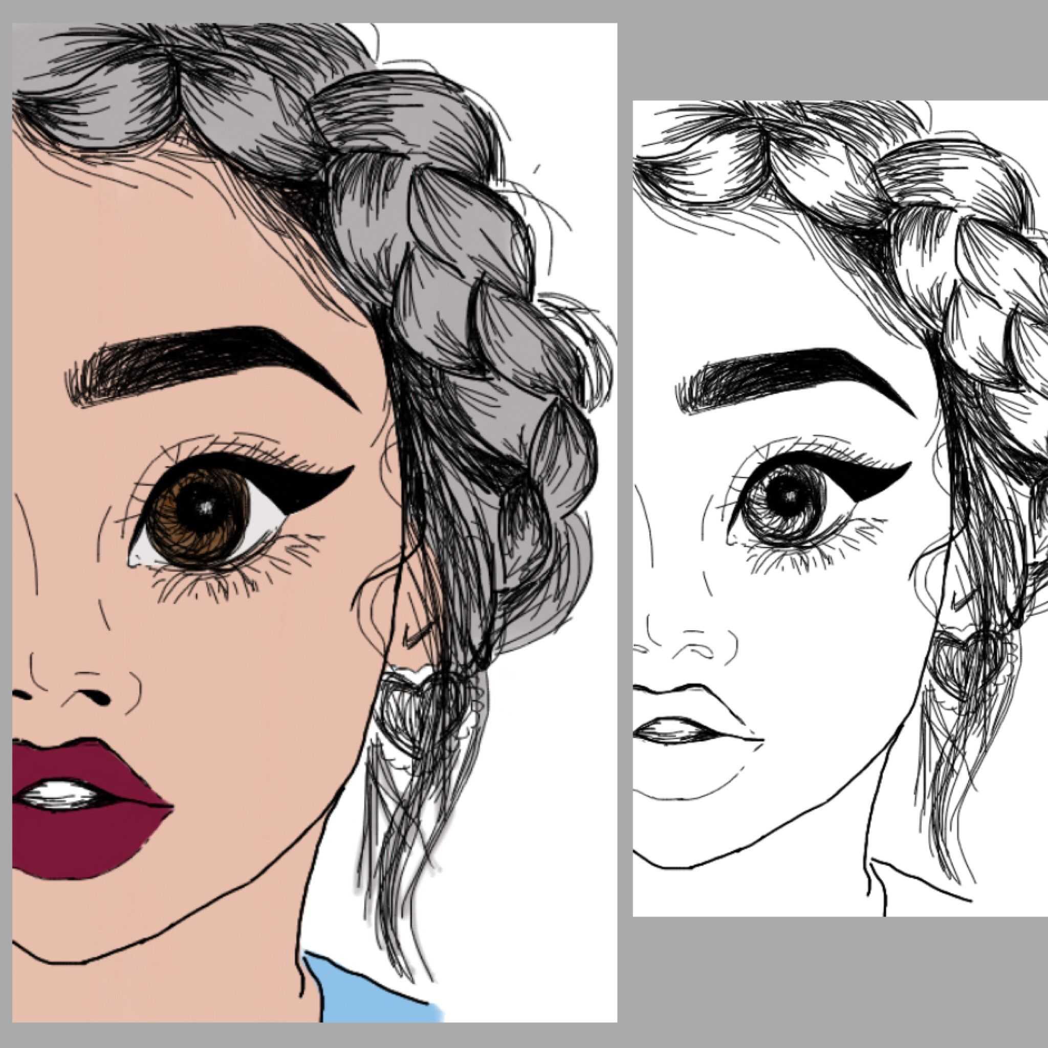 Digital Painting Line Art : Drawing of a girl with dark red lips brown eyes and grey