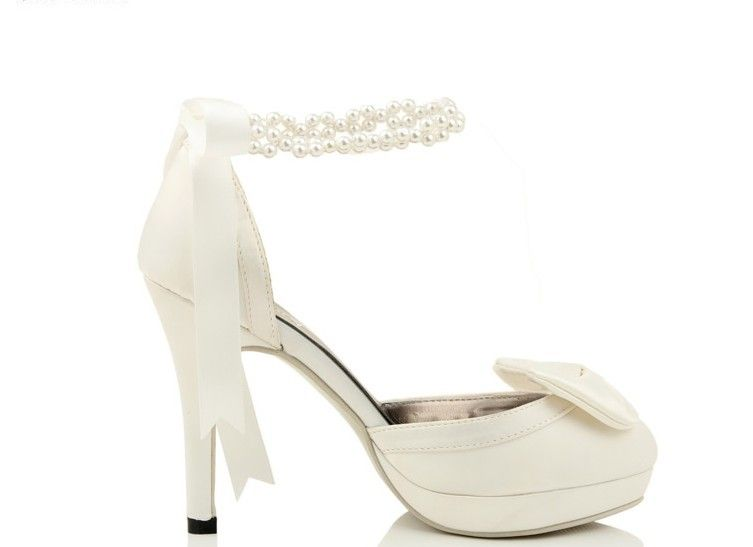 Pearl Ankle Strap High Heel With Bow And Ribbon Wedding Shoes .