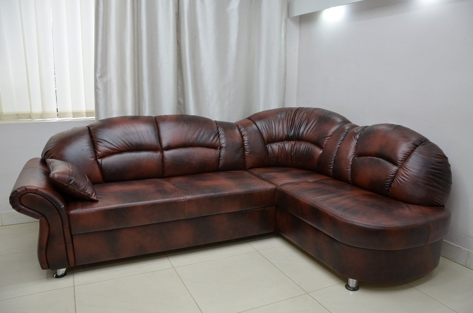 Cool Real Leather Corner Sofa Bed 100