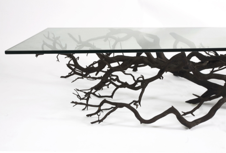 Found Fallen Tree Branch Is Repurposed Into Beautifully Unconventional Shelving Unique Table Design Tree Coffee Table Glass Decor