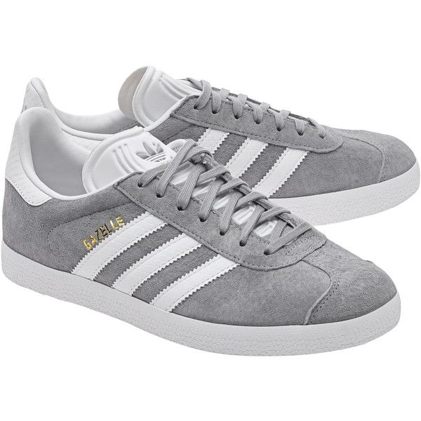 ADIDAS ORIGINALS Gazelle Mid Grey // Flat suede sneakers (345 BRL) ❤ liked on Polyvore featuring shoes, sneakers, adidas, stripe shoes, gray flat shoes, gray shoes, striped flat shoes and gray suede shoes