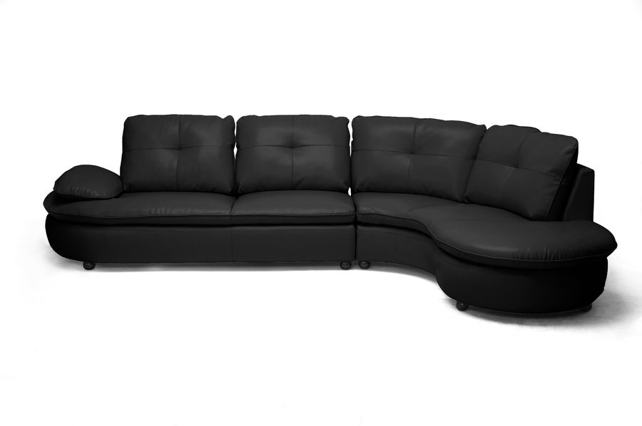 Hilaria Black Leather Modern Sectional Sofa | Wholesale ...