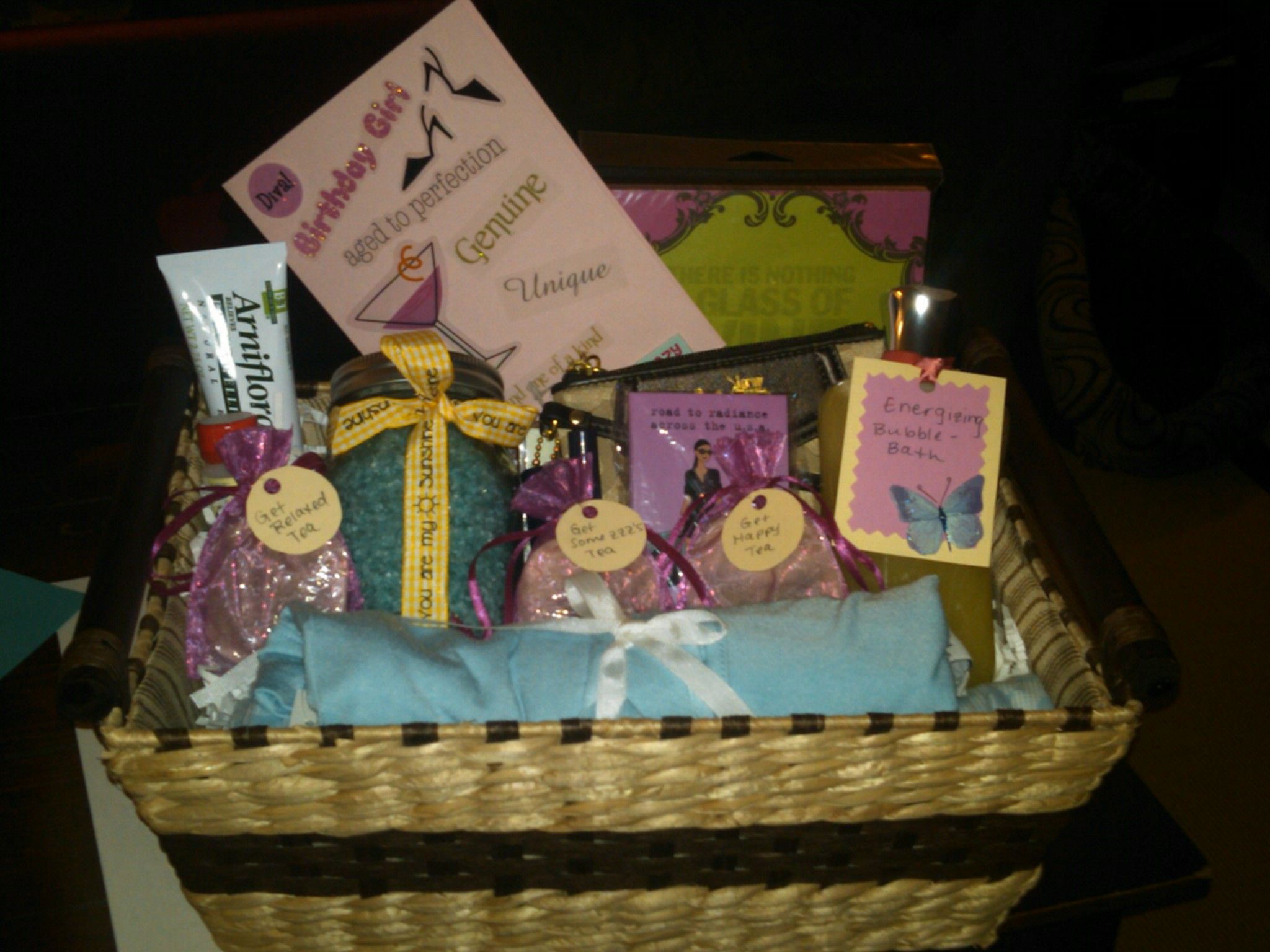 Best friend gift with tea assortments and home made bath