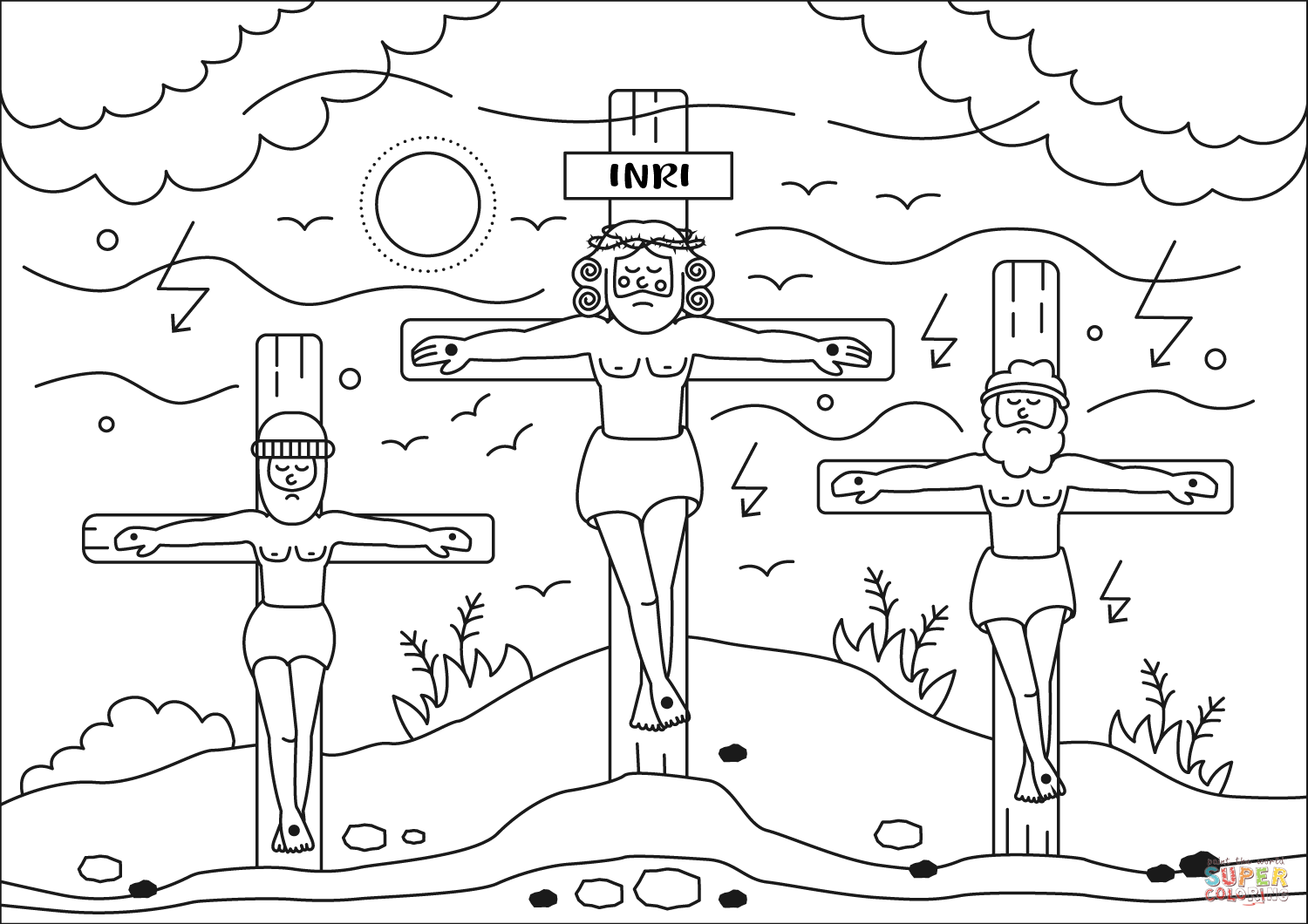 Crucifixion Of Christ Jesus On The Cross And Two Thieves Super Coloring Crucifixion Of Jesus Jesus Coloring Pages Jesus On The Cross [ 1060 x 1500 Pixel ]