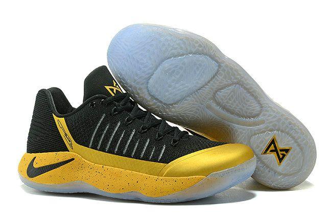 2017 Nike Zoom Pg 2 Flyknit Champion BlackGold Yellow Latest
