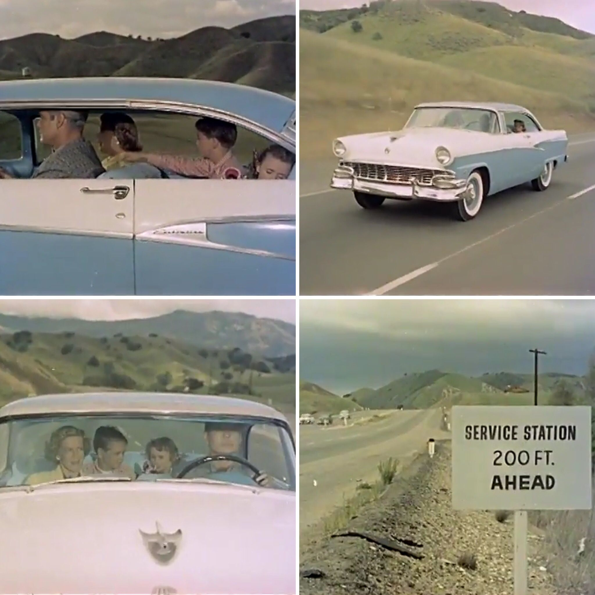 Family at Gas Station (1956) No sound, Broll footage of