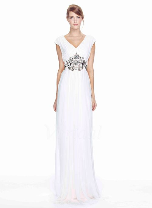 Evening Dresses - $149.99 - Sheath/Column V-neck Floor-Length Chiffon Evening Dress With Beading (01705021204)