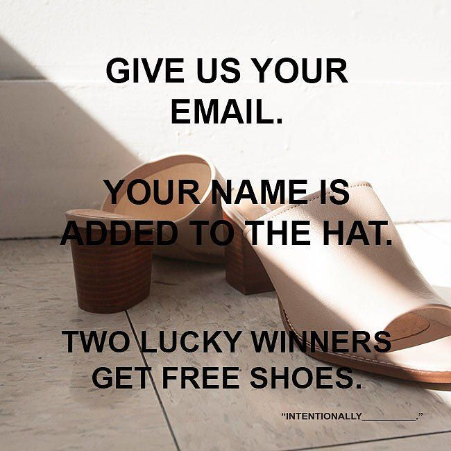 We're giving two lucky winners each a new spring shoe. Simply add your name to our email list! Two winners chosen March 15! Go to our site http://ift.tt/1DjXskH add your email that's it!  Tag a friend who needs free shoes! by iamintentionallyblank