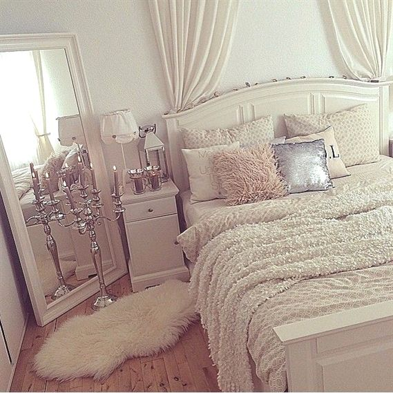 extraordinary teenage girls bedroom decorating ideas | White Bedroom Inspiration | Blush Accents | Silver Accents ...