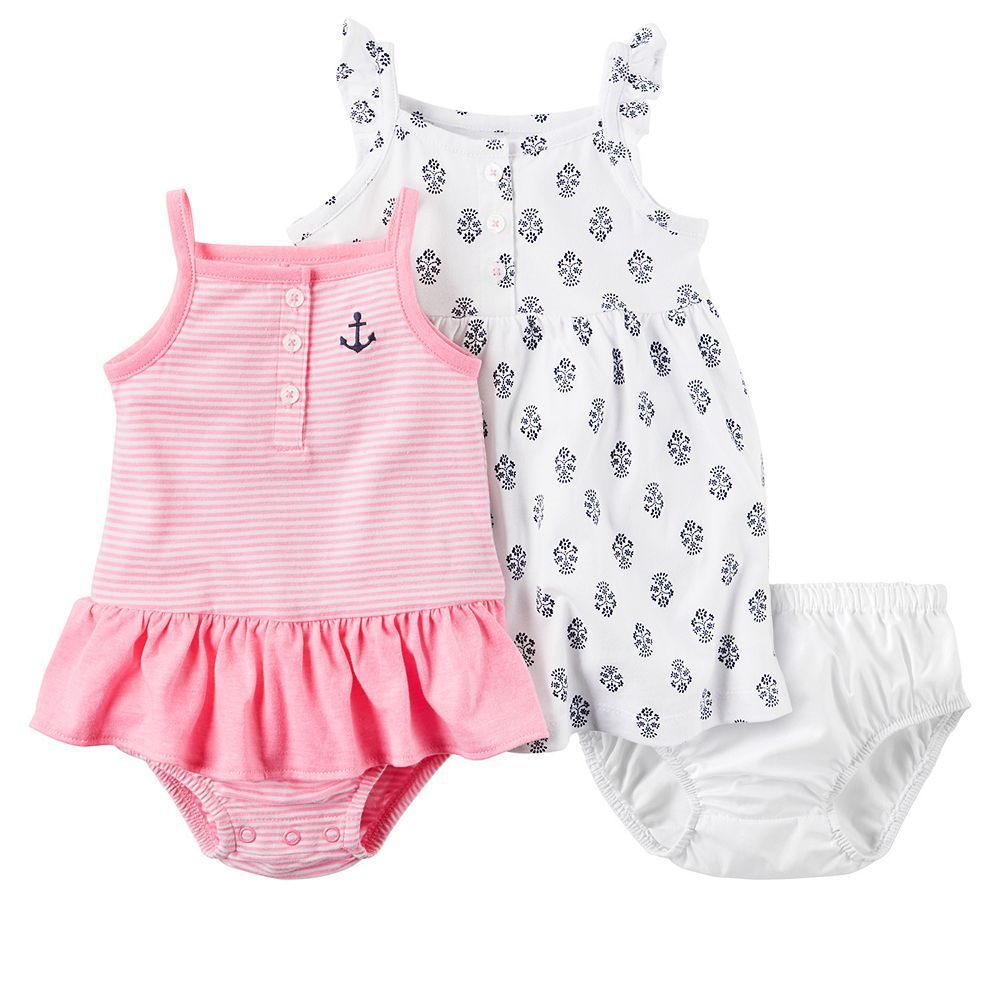 Baby Girl Carter's Striped Romper & Geo Printed Dress Set, Size: 24 Months, Pink