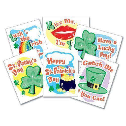 St. Patricks Day Glitter Tattoos - 144 per pack by SmileMakers Inc. $13.99. St. Patricks Day Glitter Tattoos - 144 per pack. Assorted St. Patrick's Day glitter tattoos.