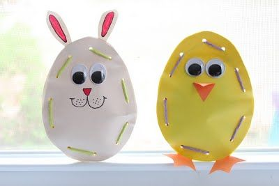 A fun preschool craft for Easter party.Lace up bunny and Spring chick. Cut