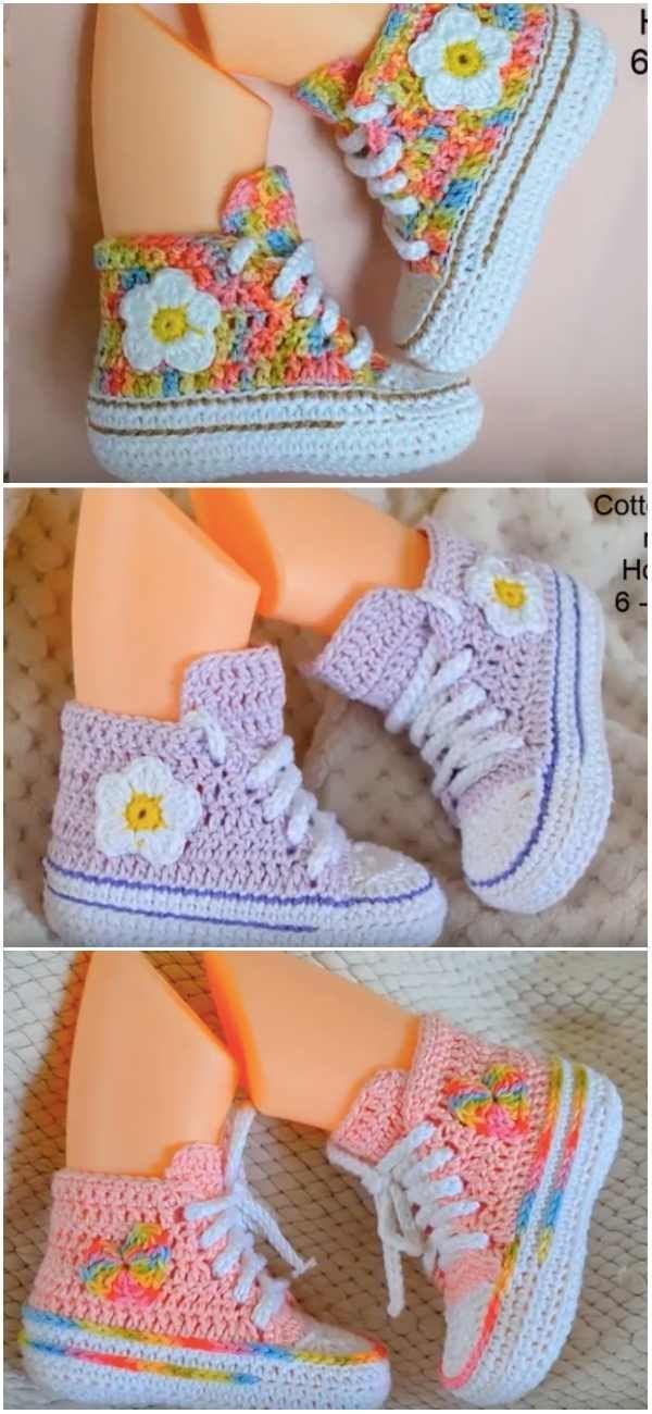 Baby Converse Booties Gratis Häkelanleitung und Tutorial - #Baby - Baby - #Baby #Booties #Converse #...