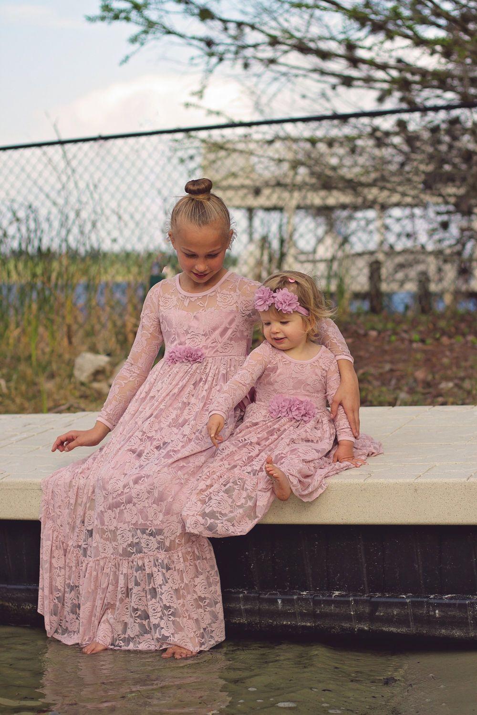 Rustic wedding flower girl dresses  Flower Girl DressDusty Rose Lace Long Sleeve Dress Baby Flower