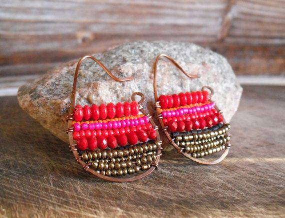 Dusk.  Hand Forged Copper Woven Hoop Earrings with Shades of Red, Coral, Orange, Pink, Bronze, and Brown Beads-Glass and Natural Materials.