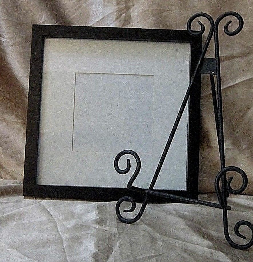 DISTRESSED BLACK WROUGHT IRON PICTURE EASEL with SQUARE BLACK FRAME ...