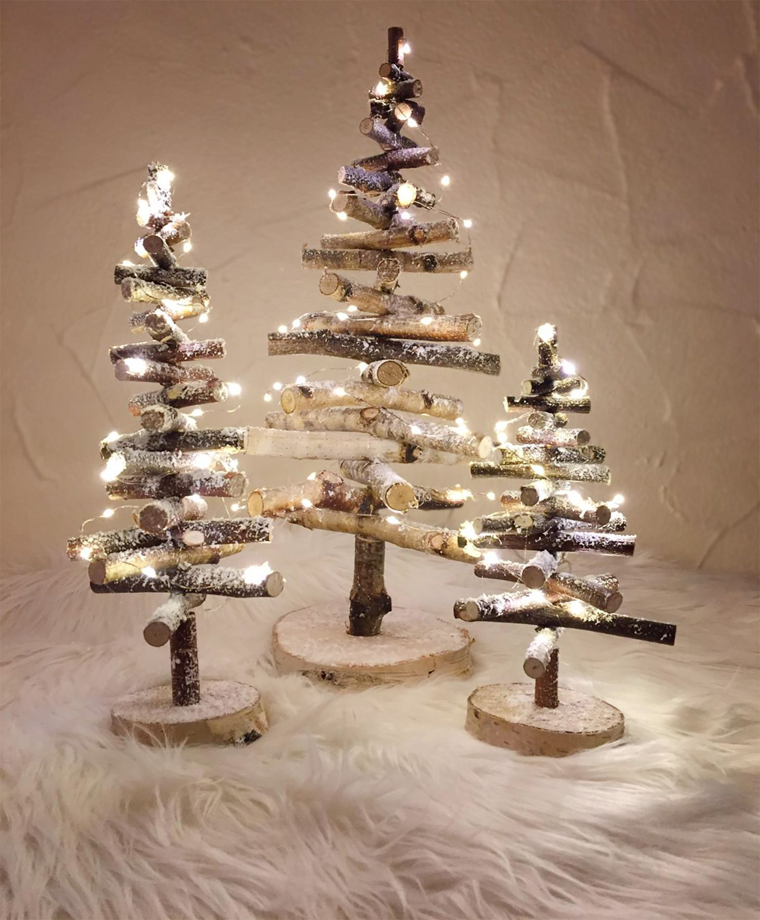 Tannenbaum Birke mit Beleuchtung Größe 20,30,40,60,80,110cm / Christbaum / Weihnachtsbaum aus Holz