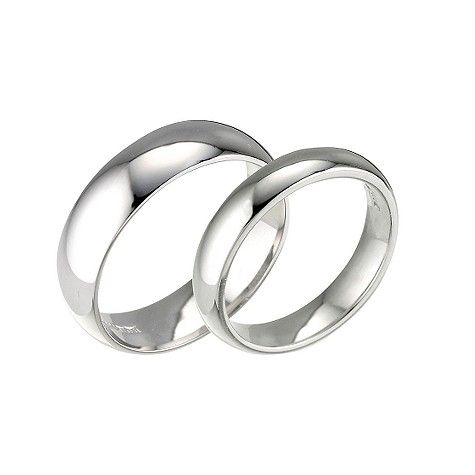 Simple White Golds Wedding Rings With Personalized Engravings Inside
