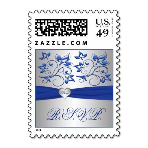 Royal Blue and Silver Love Heart Wedding Postage   Zazzle