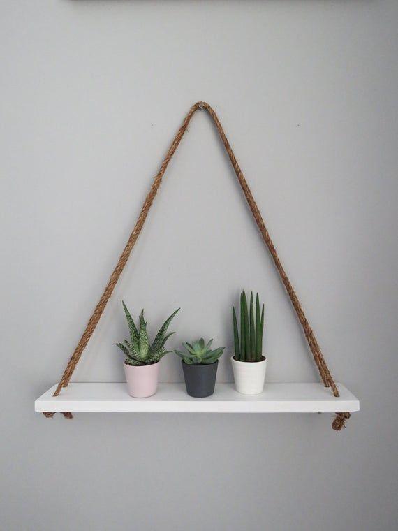 White Triangle Hanging Shelf Wooden Floating Shelf Wall Decor