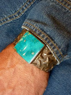 Diamond Plate Patterned Sterling Cuff with Turquoise