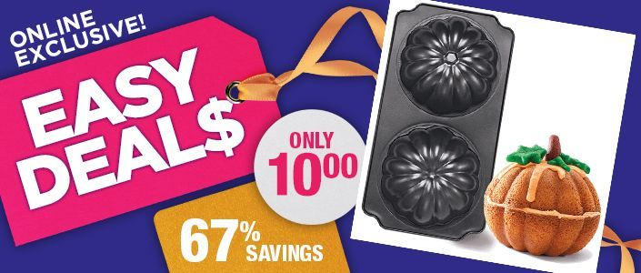 !!!!TODAY'S EASY DEAL$ !!!! 3D Pumpkin Cake Pan reg.  $29.99 Now $10.00 Product Number  1068319 Creates a pumpkin-shaped cake! Dishwasher safe. Oven-safe up to 218oC/425oF. 38 cm L x 20 cm W x 11 cm H. Cast aluminum. #pumpkinshapedcake !!!!TODAY'S EASY DEAL$ !!!! 3D Pumpkin Cake Pan reg.  $29.99 Now $10.00 Product Number  1068319 Creates a pumpkin-shaped cake! Dishwasher safe. Oven-safe up to 218oC/425oF. 38 cm L x 20 cm W x 11 cm H. Cast aluminum. #pumpkinshapedcake