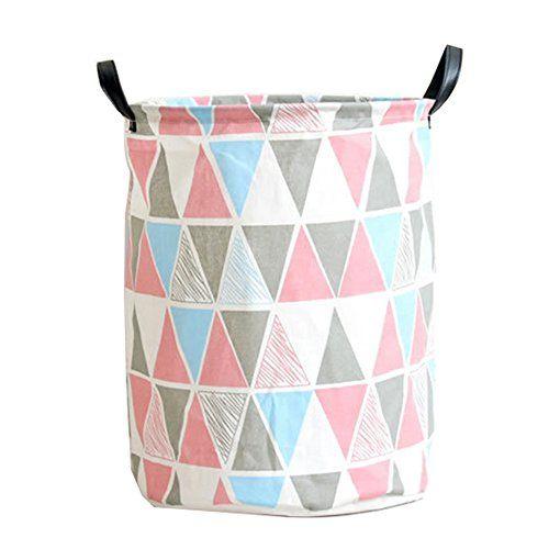 Pauwer Fabric Nursery Hamper Canvas Laundry Basket Foldable With