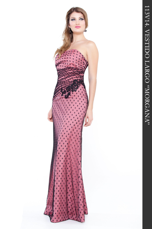 Precioso vestido largo en tul topos color negro combinado con tejido ...