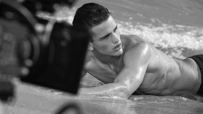 Canadian model Simon Nessman photographed by Bruce Weber in Miami for the marketing campaigns for Armani's Acqua Di Gio Essenza.