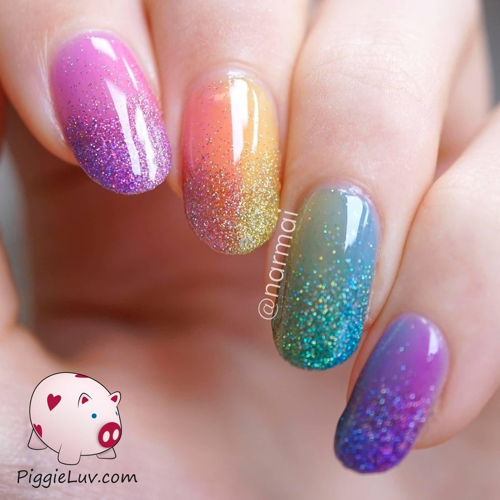 Black Tip And Pink Glitter Gel Nail Art Design Idea | nail ...