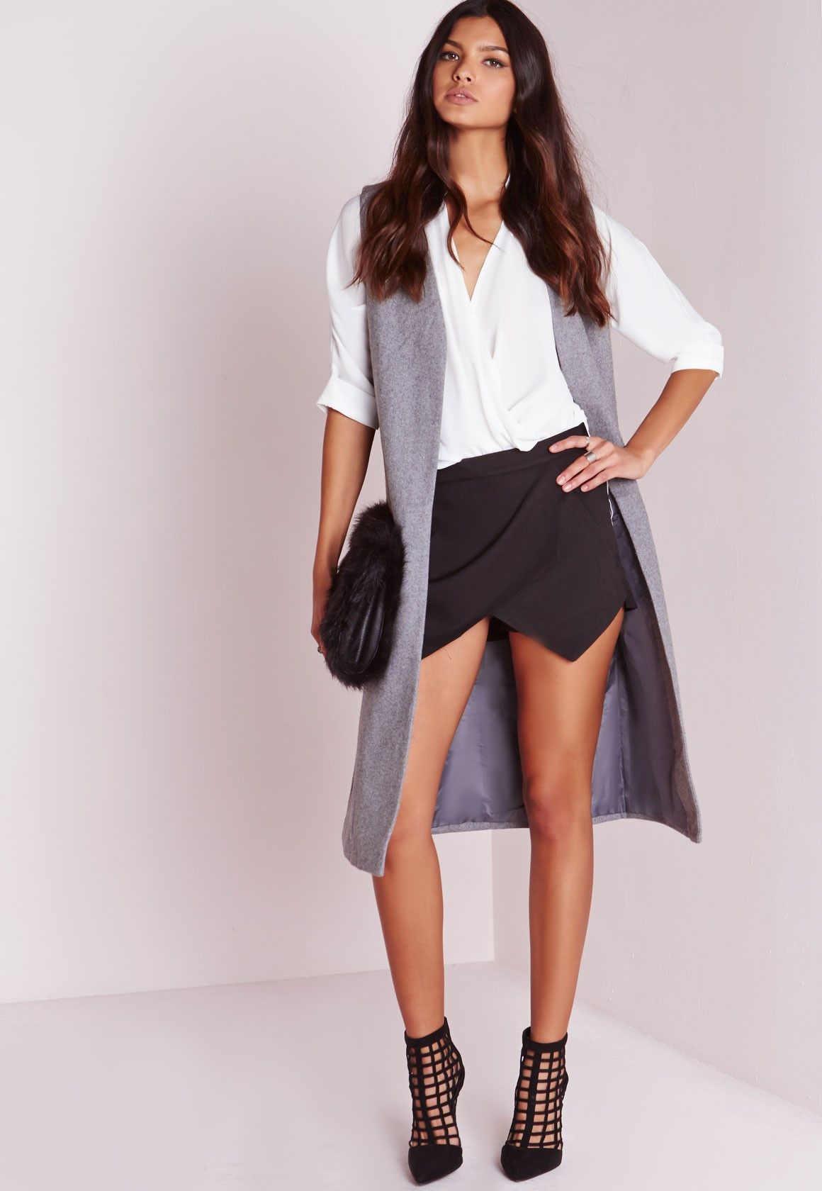 Missguided - Wrap Detail Skort Black