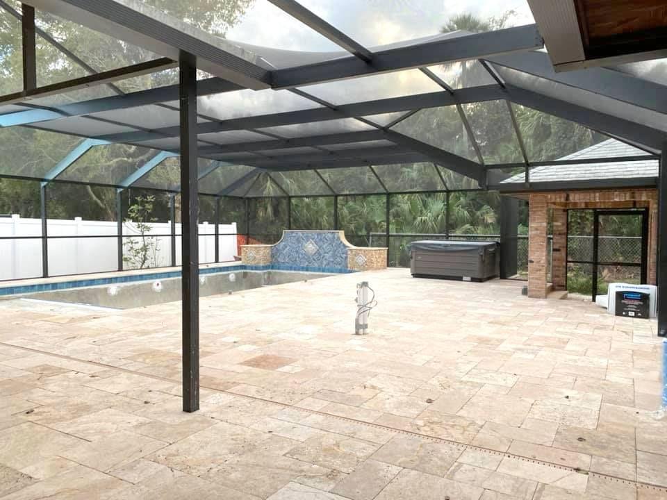 Best Swimming Pool Contractors Ormond Beach Fl Pool Builders Brick Farmhouse Pool Screen Enclosure Screen Enclosures