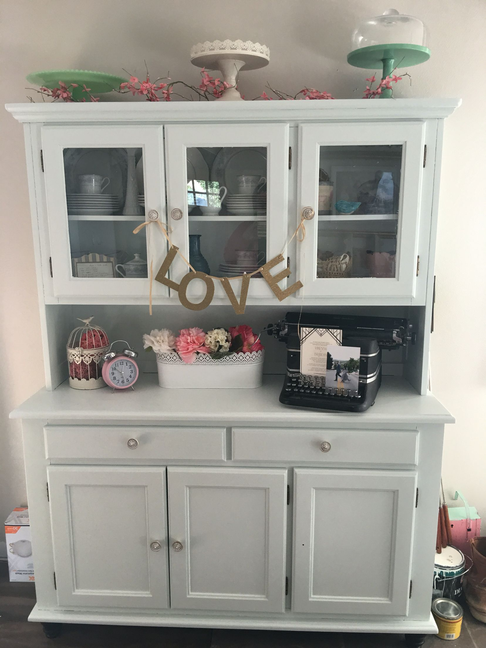 Two Piece Hutch Painted Sherwin Williams Window Pane Soft Blue