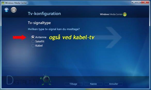 Windows Media Center opsætning