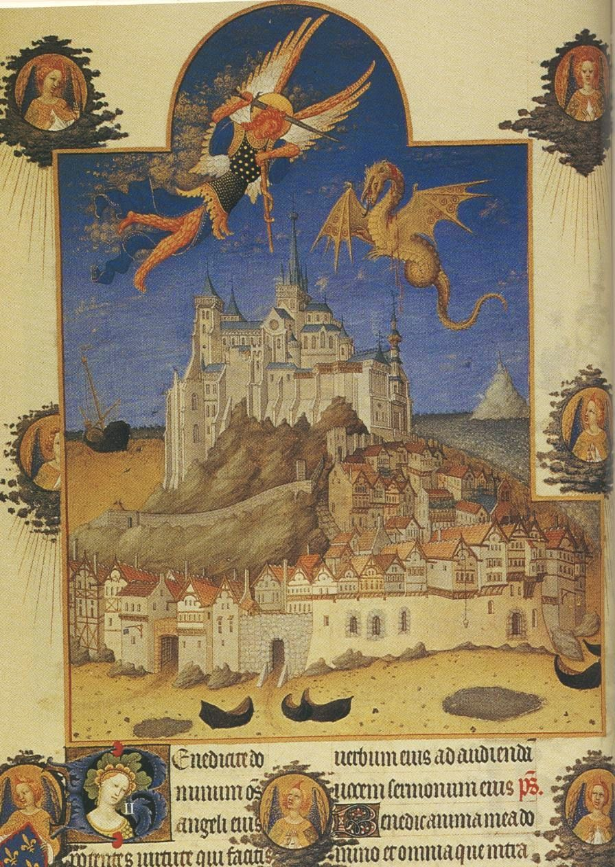 Mont San Michel depicted in the illustrated MSS Les Tres Riches Heures du Duc de Berry ca.1390